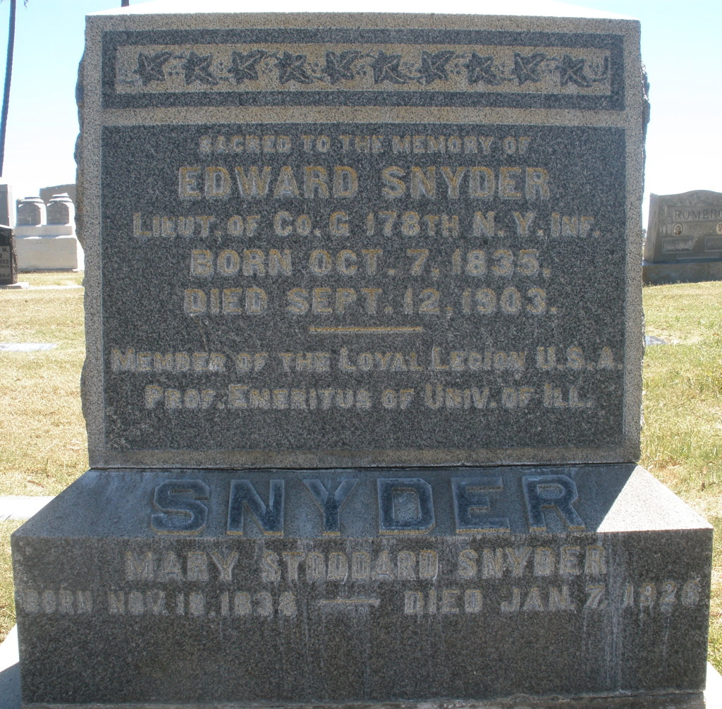 Snyders grave at Mt. Hope Cemetery
