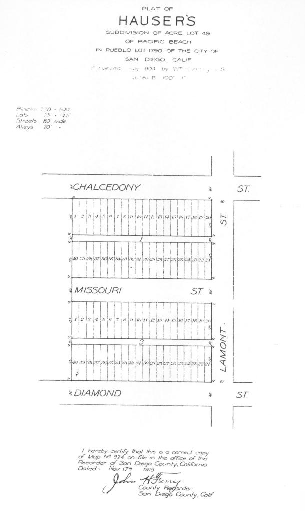 Map of Hauser's Subdivision