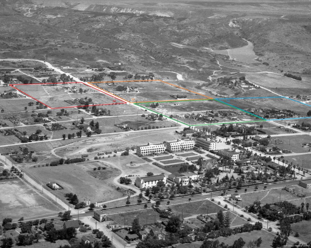 1937 aerial view of Pacific Beach. Brown Military Academy, the former college campus, is in the foreground with the land once covered by lemon ranches beyond. The acre lots originally owned by Wilson and Bowers are outlined.