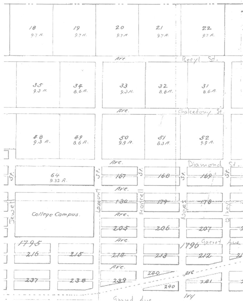 Detail from 1892 PB subdivision map showing acre lots north of the college campus (modern street names added)