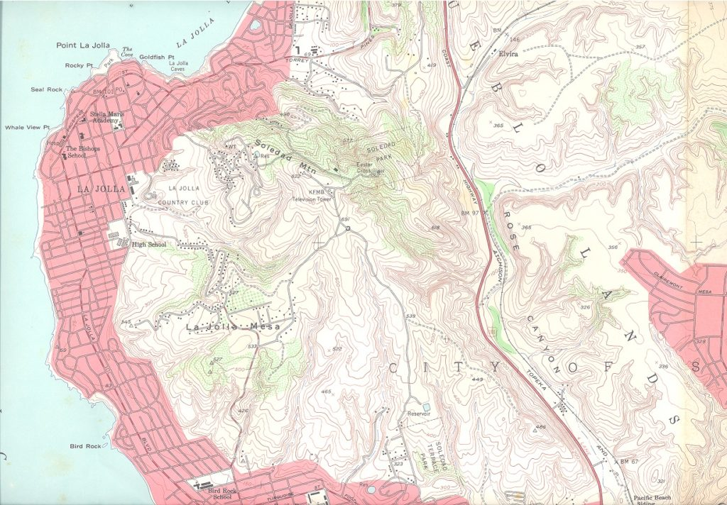 La Jolla topographic map showing Mt. Soledad, 1953