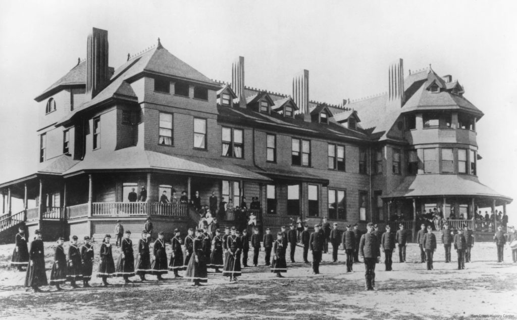 San Diego College of Letters, 1888, with students in their military uniforms.
