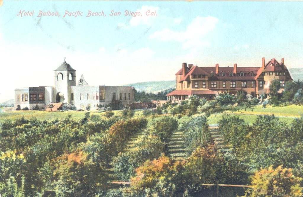 Hotel Balboa about 1906. Stough Hall is on the left and the original college building on the right.